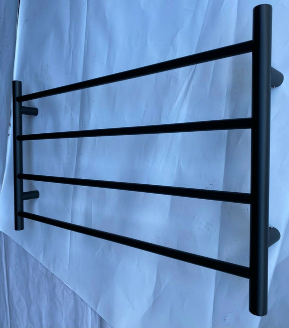 BLACK MATTE HEATED TOWEL RAIL RACK ROUND AU STANDARD 4 BAR 850 MM WIDE