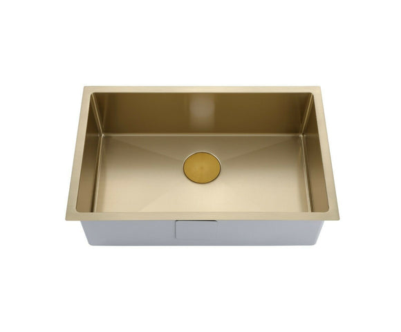 Brushed Brass gold s/s 304 single large bowl kitchen sink hand made 1.5 mm PVD