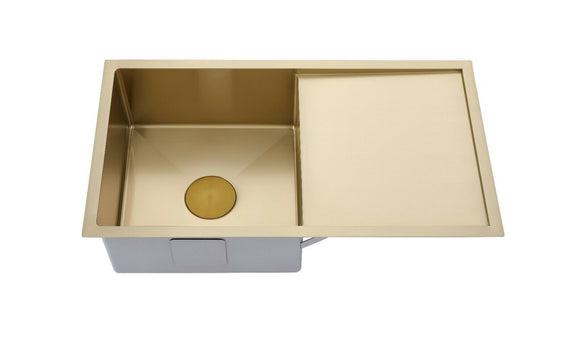 Burnished Brushed Brass Gold 304 single large bowl with drainer kitchen sink r10 mm