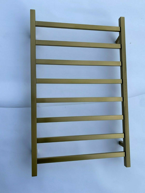 Brushed Brass Gold NON Heated Towel Rail rack square 8 bar 620 mm wide