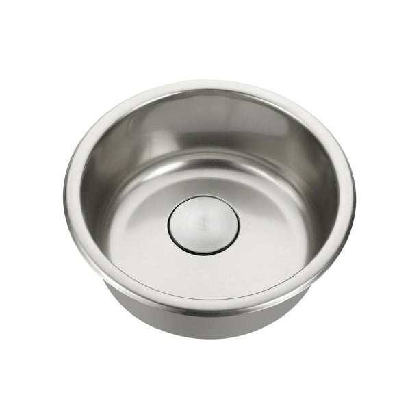 Chrome Polished stainless steel Single Round bowl kitchen sink trough 420mm