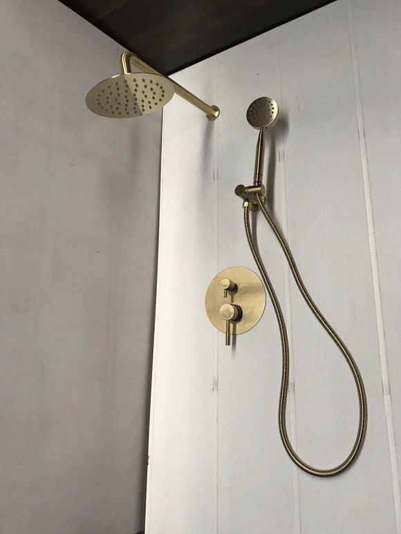 Burnished / Brushed Brass Gold  burnished rose gold copper shower set diverter