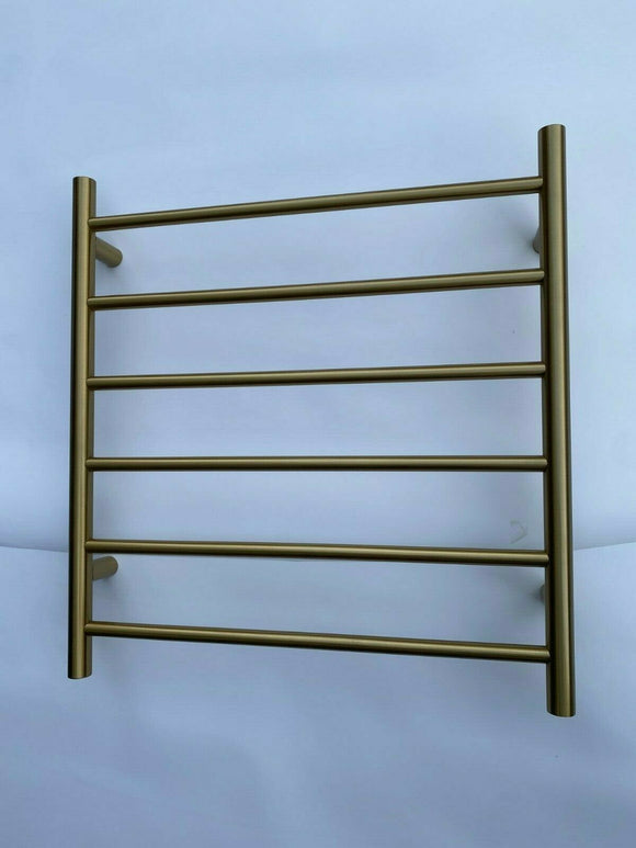 Brushed Brass Gold NON Heated Towel Rail rack Square AU standard Round 6 bar 620 mm wide