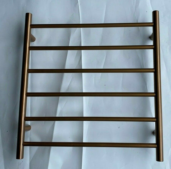 Brushed Copper Rose Gold Round Non Heated Towel Rail Rack 620 mm Wide 6 Bar