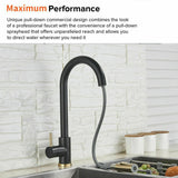 2021 Brushed Gold Spout Matte Black pull out with spray function kitchen mixer tap faucet