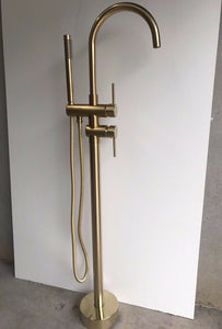 Brushed Brass Gold Round Free Standing  Bath tub Mixer Spout Freestanding spout filler hand held