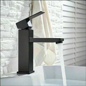 2021 Square Cube style basin mount tap low faucet Matte Black tap mixer spout