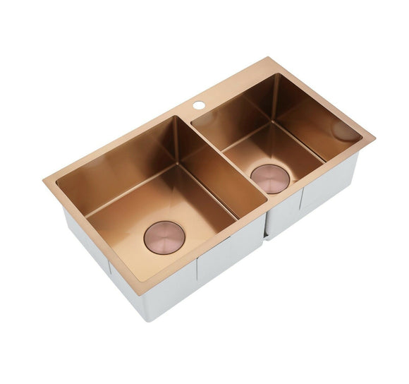2021 Burnished rose gold Copper stainless steel 304 double bowl kitchen sink with tap hole