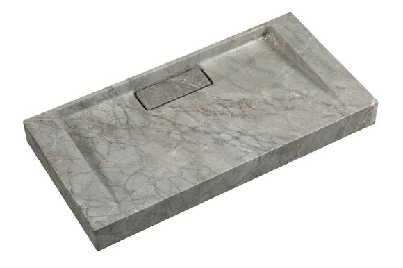 2021 Hand Crafted Marble Nature stone wash basin Hermès matt grey wall hung 600*300*60 mm