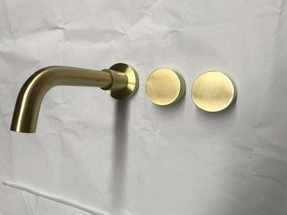 Burnished Gold Brushed Brass mixer WaterMark WELS round taps wall faucet basin