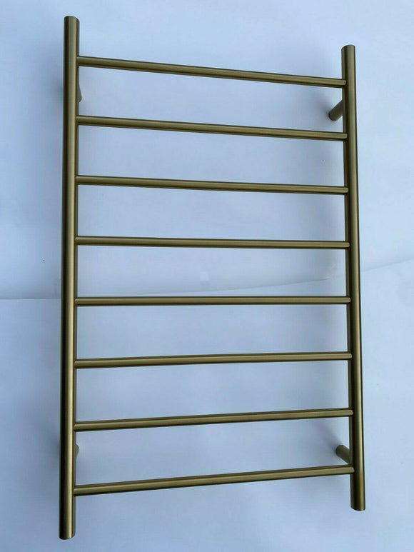 Brushed Brass Gold NON Heated Towel Rail rack Round 8 bar 620 mm wide