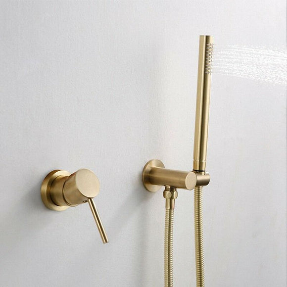 cUPC Brass Burnished Gold  round hand held SHOWER HEAD  adjust holder mixer