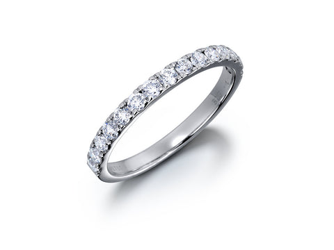 3.0MM PAVÉ-SET DIAMOND RING IN 18K WHITE GOLD - 0.57ct