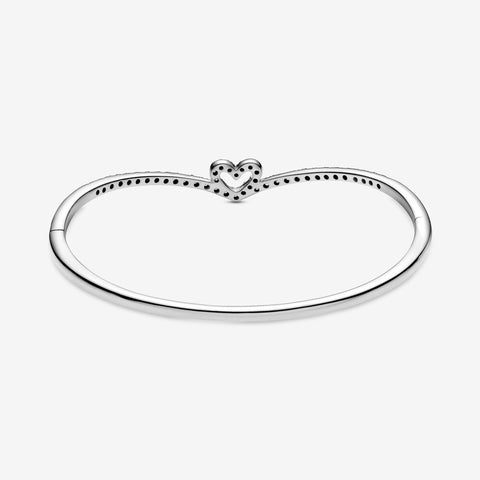 Sparkling Wishbone Heart Bangle