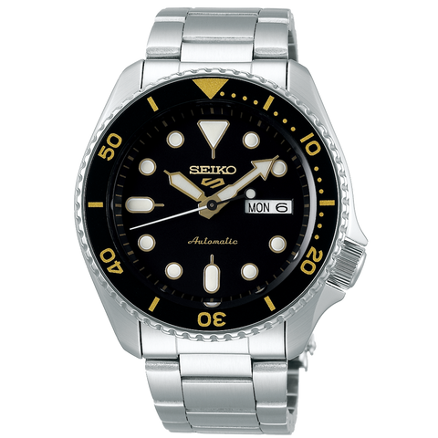 SEIKO 5 SPORTS AUTOMATIC WATCH IN BLACK AND YELLOW SRPD57K1