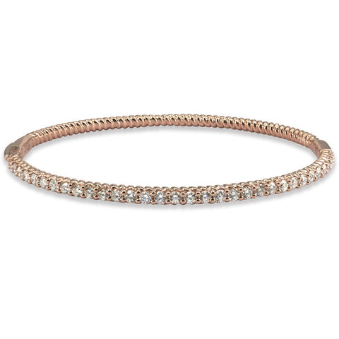 LMD TWIST DIAMOND BANGLE IN 18KT ROSE GOLD