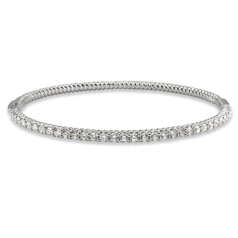 LMD TWIST DIAMOND BANGLE IN PLATINUM