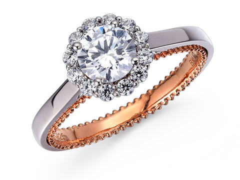 18K WHITE GOLD & ROSE GOLD DIAMOND RING MOUNT