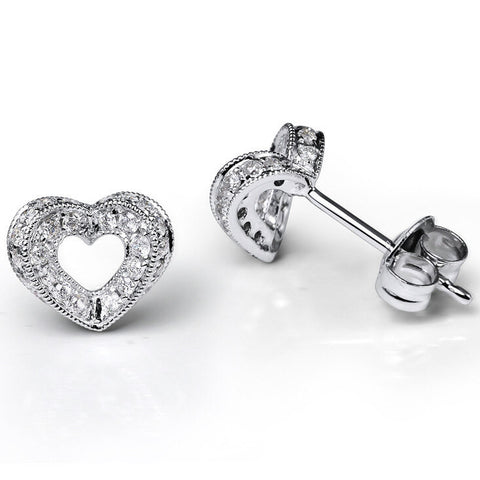 HEART DIAMOND CLUSTER STUD EARRINGS IN 18K WHITE GOLD