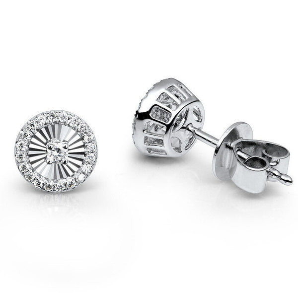 MARTINI HALO DIAMOND EARRINGS IN 18K WHITE GOLD