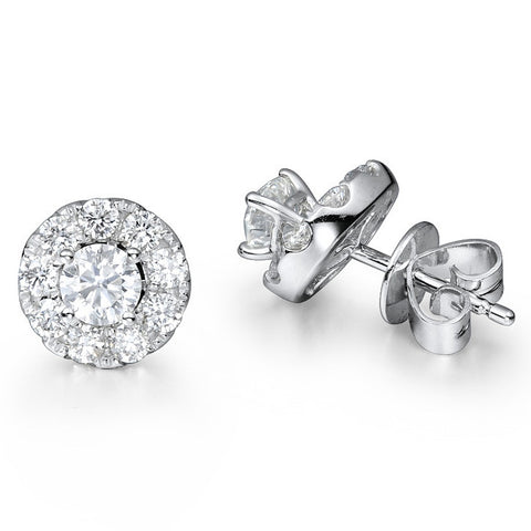 DETACHABLE HALO SOLITAIRE EARRINGS IN 18K WHITE GOLD