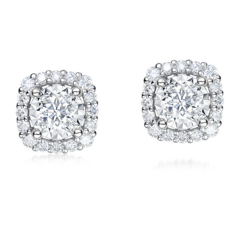 1/3CT DIAMOND SOLITAIRE STUD WITH 1/2 CARAT OUTLOOK