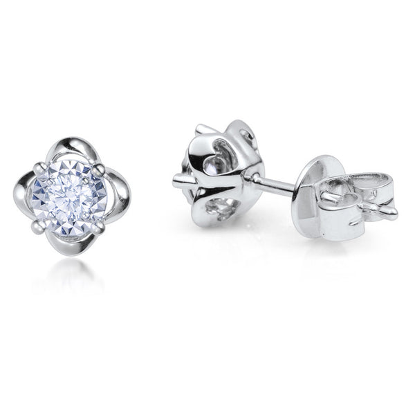 0.16CT.TW DIAMOND SOLITAIRE STUD WITH 1/2 CARAT OUTLOOK