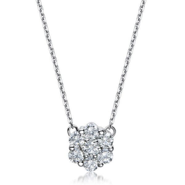 DIAMOND CLUSTER NECKLACE IN 18K WHITE GOLD