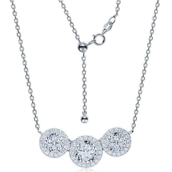 THREE-STONE CLUSTER DIAMOND NECKLACE IN 18K WHITE GOLD (ADJUSTABLE)
