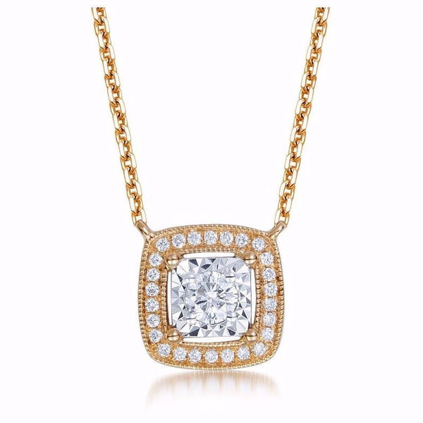 18K ROSE GOLD SQUARE SHAPED DIAMOND NECKLACE