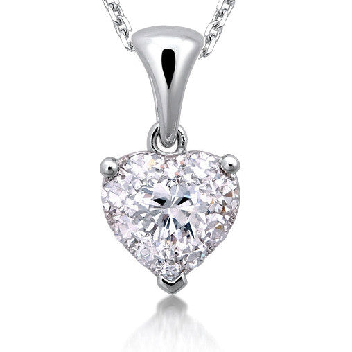 CLUSTER DIAMOND HEART NECKLACE IN 18K WHITE GOLD