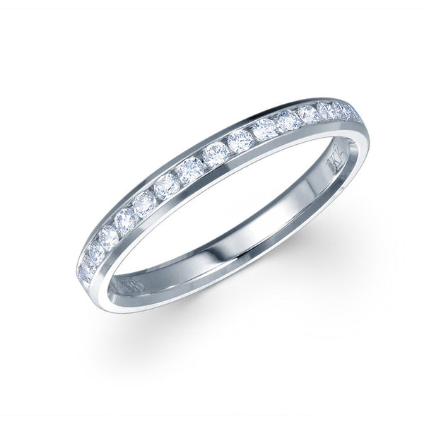 CHANNEL SET DIAMOND RING IN 14K WHITE GOLD - 0.33CT.TW