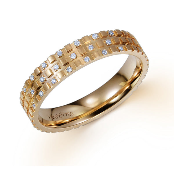 FLORENTINE CROSSHATCH TEXTURE WEDDING BAND IN 18K ROSE GOLD