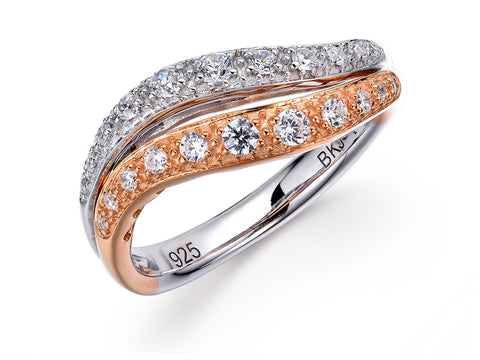 18K WHITE GOLD AND ROSE GOLD DIAMOND RING