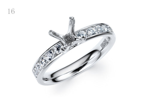 EsCa DIAMOND ENGAGEMENT RING SET IN 18K WHITE GOLD