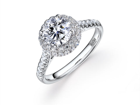 1.75ct VS2 I Round Brilliant Cut Lab-Grown Halo Diamond Ring in 18k White Gold