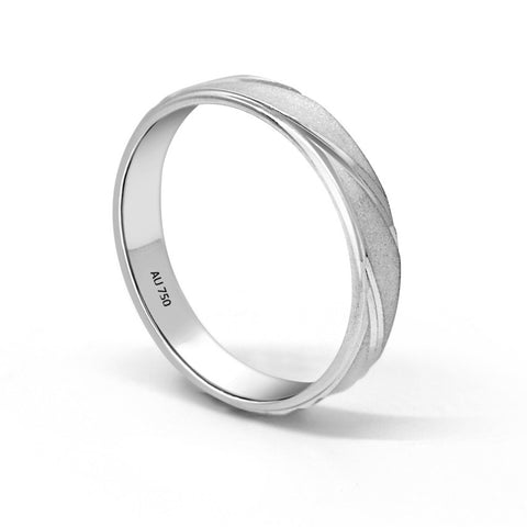 DOUBLE INLAY WEDDING RING IN 18K WHITE GOLD (3.5MM)