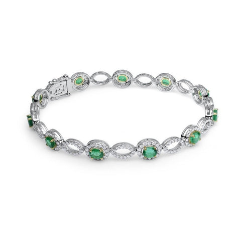 GREEN EMERALD AND DIAMOND BRACELET IN 18KT WHITE GOLD