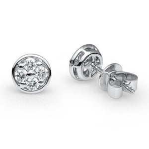 DIAMOND CLUSTER EARRING IN 18KT WHITE GOLD