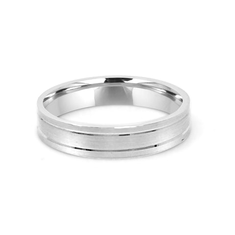 3.5MM MATTE FINISH WEDDING RING WITH POLISHED LINES IN PLATINUM