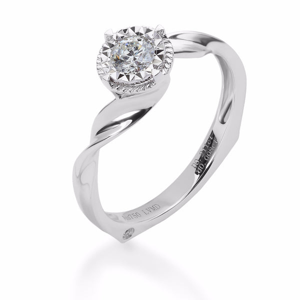 LMD HERITAGE BOND DIAMOND RING IN 18K WHITE GOLD
