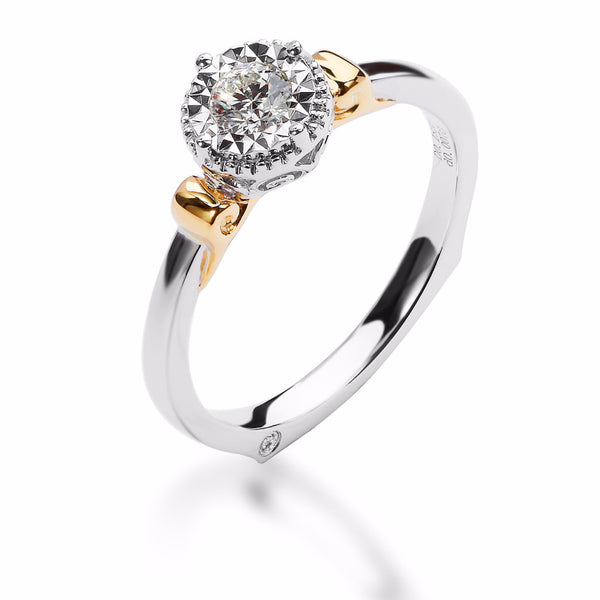 LMD HERITAGE VINTAGE TOUCH DIAMOND RING IN 18K WHITE GOLD