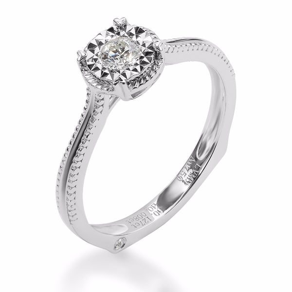 LMD HERITAGE BIRDNEST DIAMOND RING IN 18K WHITE GOLD