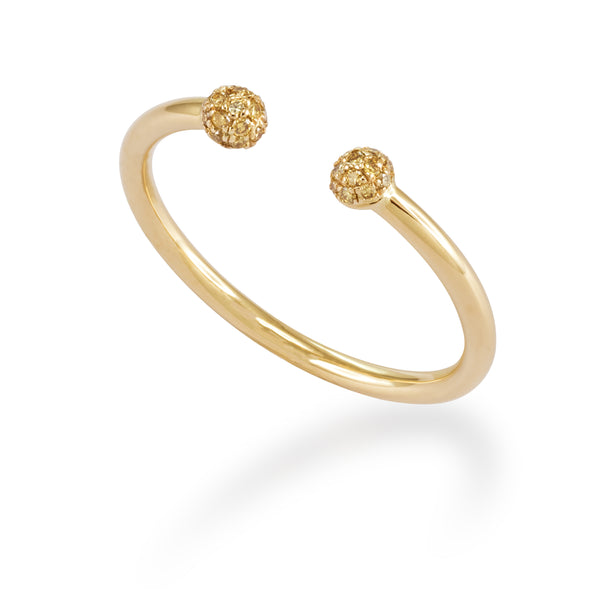 LMD CITY LIGHTS ROUND ARROW DIAMOND RING IN 18K YELLOW GOLD