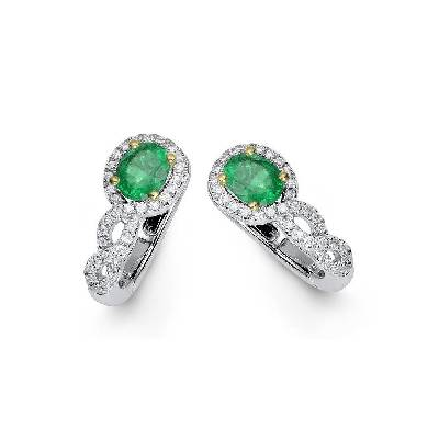 DIAMOND AND EMERALD 18K WHITE GOLD EARRINGS BKE94-7