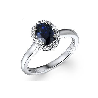 DIAMONDS AND BLUE SAPPHIRE 18K WHITE GOLD RING BKR94-3