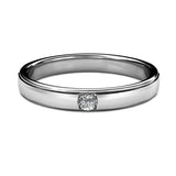 BEZEL SET SINGLE DIAMOND RING IN 18K WHITE GOLD