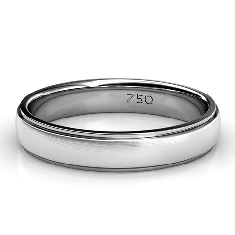 BRUSHED AND POLISHED WEDDING RING IN 18K WHITE GOLD (4.0MM)