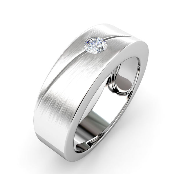 BEZEL SET SINGLE DIAMOND RING IN 18K WHITE GOLD (7mm)