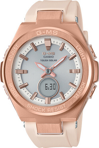 CASIO G-SHOCK G-MS ANALOG-DIGITAL WATCH IN PINK AND ROSE GOLD MSGS200G-4